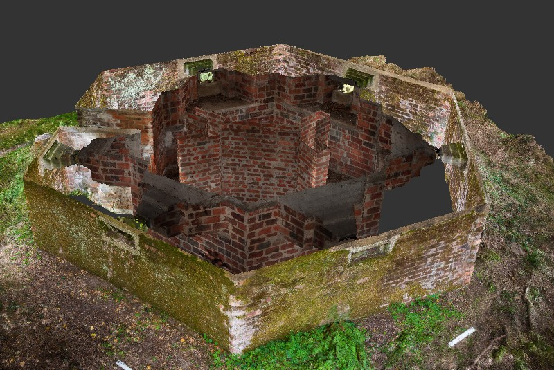 View looking across top of pillbox with roof removed