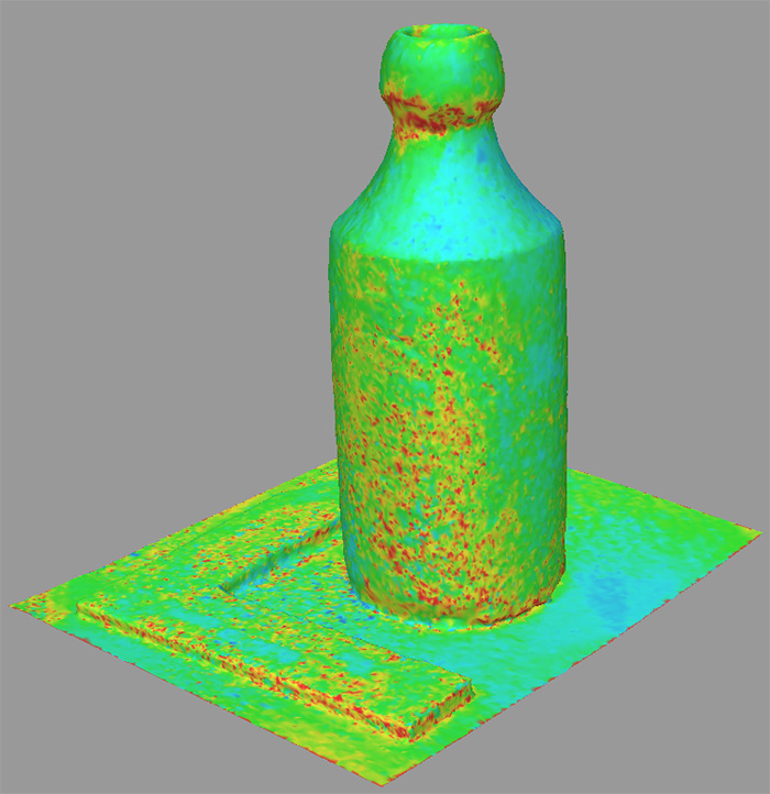 Stoneware ginger beer bottle 3D model showing model confidence.