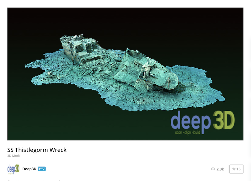 A screenshot of the 3D model of the SS Thistlegorm